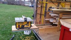slide out table saw on enclosed trailer