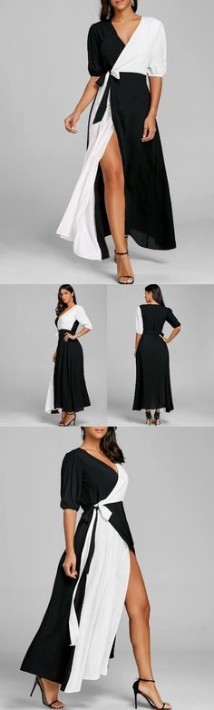 Puff Sleeve Color Block High Slit Maxi Dress Prom Party Dresses, Women's Dresses, Dress Outfits, Vintage Dresses, Nice Dresses, Fashion Dresses, Summer Dresses, Fashion Women, Women's Fashion