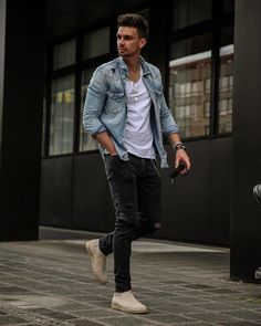 - Credit Tips Chelsea Boots Outfit, Suit Fashion, Mens Fashion, Fashion Outfits, Fashion Tips, Black Jeans Outfit, Black Pants, Men Style Tips, Style Men
