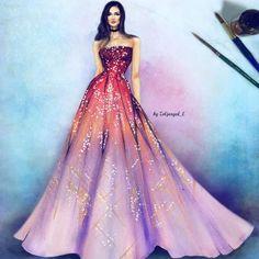 Kleid gemalt mit schönem Farbverlauf