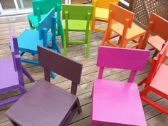 Get the FREE plans to build these brightly-colored kids' chairs on Ana-White.com