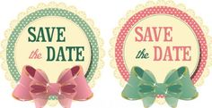 2 Vintage Wedding Save The Date Stickers with Bows