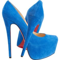 Christian Louboutin Daffodil 160 blue suede platform pumps found on Polyvore