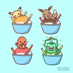 Adorable, sweet, pokemon starter doodles! Pikachu, eevee, bulbasaur and charmander each in a little bowl of ice cream! I love these doodles, they would make amazing stickers! Kawaii Doodles, Cute Doodles, Pokemon Bulbasaur, Pikachu, Pokemon Starters, Cute Pokemon Wallpaper, Kawaii Cute, Otaku, Comics