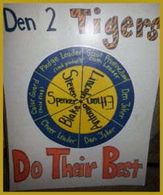 Cub Scout Den Job Chart... use with clothes pins that have scouts names on them?