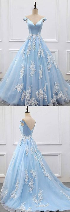 Ball Gown Off-the-Shoulder Court Train Blue Tulle Prom Dress PG483 #prom #satin #party #pgmdress #fashion