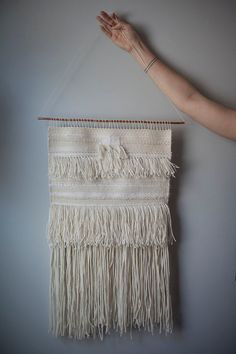 Woven wall tapestry in cream by FineWoven on Etsy