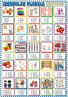 Irregular plurals multiple choice activity