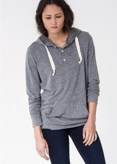 In a thin and slouchy tee shirt weight knit, this hooded henley is perfect for effortless spring style. Size down for a more fitted look to layer under your favorite flannel.