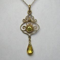 Antique Edwardian Gold-Filled Faux Citrine Filigree Lavaliere Pendant in Jewelry & Watches, Vintage & Antique Jewelry, Costume   eBay