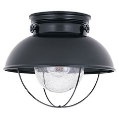 """Sea Gull Lighting Black Outdoor Flush Mount Light-Nautical AND it's a """"Sea Gull"""" brand!  Can't get much beachier!"""