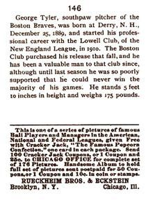 1993 1915 Cracker Jack Reprints #146 George Tyler Back