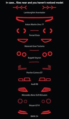 The tail lights of some super-cars like: Lamborghini Aventador, Aston Martin Ferrari Enzo, Maserati Gran Turismo, Bugatti Veyron, Porche Carrera GT Car Memes, Lamborghini Aventador, Audi R8, Audi 2017, Lamborghini Concept, Mercedes Auto, Car Wheels, Steering Wheels, Mustang Wheels