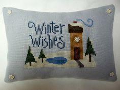 Winter Wishes Cross Stitched Mini Pillow/ Shelf by luvinstitchin4u, $19.00
