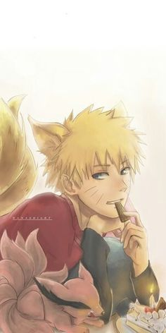 Baby Kurama and Uzumaki Naruto. Not my art #naruto #uzumaki #kurama