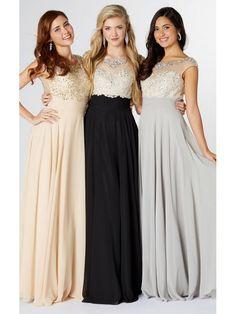 A Line Scoop Floor Length Cap Sleeve Beaded Open Back Long Chiffon Prom Dresses