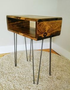 Reclaimed Wood Side Table On Steel Hairpin Legs, Mid Century Modern End Table…