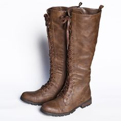 """Continental Crossroads Knee-high Lace-up Boots 79.99 at shopruche.com. These tan boots lace all the way up to your knees for a rugged yet refined look with a side zipper and distinctive traction.  Synthetic leather upper Man-made sole 16.5"""" boot shaft height from arch 1.25"""" heel  0.5"""" platform 14"""" calf circumference"""