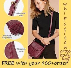 Hurry!  3 days only...September 27-29!!   Get this Whipstitch Cross body Bag FREE with a $60+ order, PLUS FREE SHIPPING!! Order must be placed online @ kwissner.avonrepresentative.com     #avon #onlinedeals #shoponline #sale #fgwp #freebies #freeshipping #crossbody #bags #purse #whipstitch #fringe #tassel #fashion