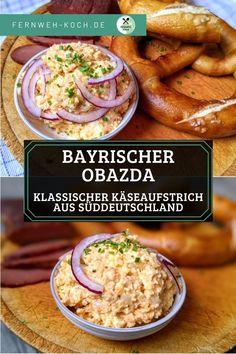 Dieses Obazda Rezept ist eine pikante Mischung aus Käse, Butter und Paprikapulver und Bestandteil einer jeden vernünftigen Brotzeit in Süddeutschland. Ursprünglich war Obazda eine Möglichkeit, überreifen Käse noch schmackhaft verarbeiten zu können. #Obazda #Rezept #Obatzter #Bayern #Käse Dip Recipes, Dinner Recipes, Healthy Recipes, Still Tasty, Party Snacks, International Recipes, Clean Eating, Food Porn, Easy Meals