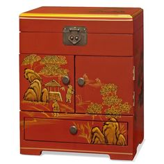 China Furniture Online Chinoiserie Jewelry Cabinet, Hand Painted Gold Chinese Mountain Landscape Matte Red Finish