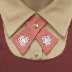 Womens Neck Tie - Pink - Lace Hearts.