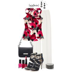 """red, hot pink, & black for spring"" by enjoytheview on Polyvore"