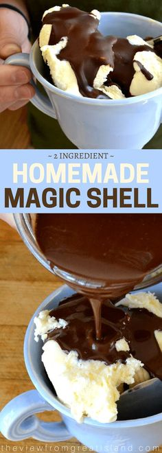 How to Make Homemade Magic Shell ~ this easy sauce will transform any ice cream in your freezer into the most magical dessert ever! #magicshell #icecream #diy #chocolate #icecreamtopping #dessert #sundae #chocolatesauce via @https://www.pinterest.com/slmoran21/