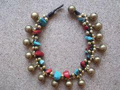Christmas gift sale,Thailand handmade bracelet,Red blue turquoise color jingle bells brass on Etsy, ฿283.33