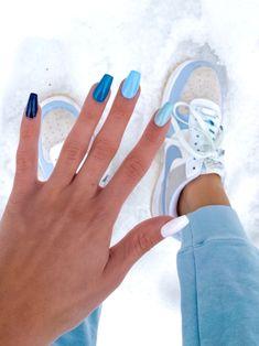 Acrylic Nails Coffin Short, Blue Acrylic Nails, Simple Acrylic Nails, Summer Acrylic Nails, Pastel Nails, Acrylic Nail Designs, Simple Nails, Coffin Nails, Blue Nails Art