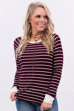 All the Stripes Long Sleeve Top in Burgundy