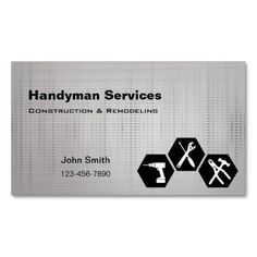 Shop Handyman construction remodeling business cards created by BlackEyesDrawing.
