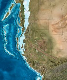 West Coast Map 215 million years ago