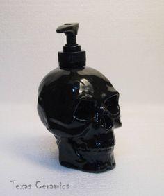 For the boys bathroom  Human Skull Pump Dispenser in Shiny Black Ceramic Lotion Soap Bottle. $20.00, via Etsy.