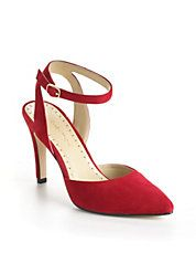 Elegant Red suede #anklestrap heels by #AdrienneVittadini