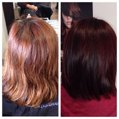 Before and after #red hair work by #JoLsalon