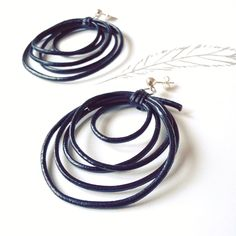 Your place to buy and sell all things handmade Leather Earrings, Leather Jewelry, Leather Craft, Boho Jewelry, Silver Earrings, Handmade Jewelry, Hoop Earrings, Greek Jewelry, Craft Bags