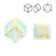 4841 Cube 6mm Crystal AB CALVZ  Dimensions: 6mm Colour: Crystal AB CALVZ 1 package = 1 piece