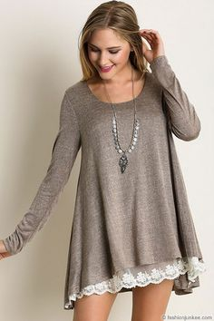 Long Sleeve Knit Lace Trim Hem Tunic Top-Mocha Taupe