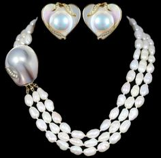 Mother Of Pearl Heart Shaped Earrings And Freshwater Necklace Set