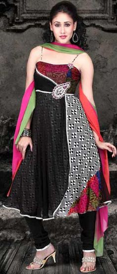 Off White and #Black Double Layer Faux Georgette #Churidar #Kameez @ $111.28 | Shop Here: http://www.utsavfashion.com/store/sarees-large.aspx?icode=kym13