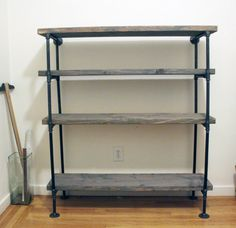 Interior,Extraordinary DIY Rustic Shelf Building With Black Pipe Material  And Wood Flooring Feat Unique Glass Storage,Unique Modern Industrial Pipe  Shelving ...