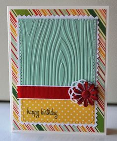 Love the use of the Cuttlebug embossing folder, and the stitching along the edge! (card by Anthea | http://cutegreetingcards.blogspot.com