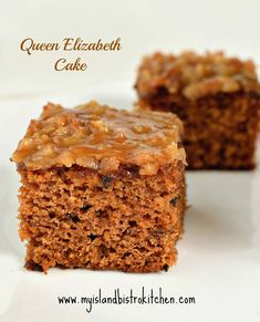 This moist, flavorful cake, known as the Queen Elizabeth Cake (or Square), is made with dates and spices and features a delectable toffee-like topping Cake Cookies, Cupcake Cakes, Cupcakes, Baking Pan Sizes, My Favorite Food, Favorite Recipes, Date Pudding, Date Cake, Square Cakes