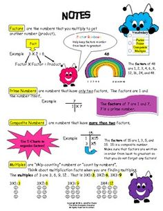 FREEBIE: Student Notes -- Factor, Prime, Composite and Multiple