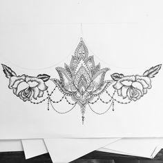 """1,366 Likes, 49 Comments - Tattoo Designer & Artist (@oliviafaynetattoo) on Instagram: """"Rose and lotus sternum for Lauren #sternum #sternumtattoo #dotwork #rosetattoo #lotus #lotustattoo…"""""""