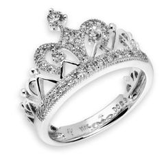 18K White Gold Crown Of Queen Cluster Style Round Diamond Ring $1333 With Free Shipping