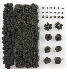 Poms & Flowers - Embellishment,pom poms & flowers set schwarz - Ihr Hobby-Crafts24.eu Shop