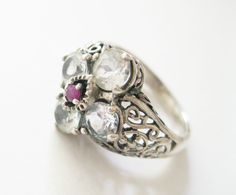 White Topaz and Ruby Cocktail Ring Size 7 Retired QVC 925 Sterling Silver from TheSnapDragonsLair