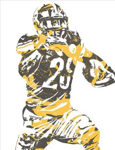 LeVeon Bell PITTSBURGH STEELERS PIXEL ART 10 Art Print by Joe Hamilton. All prints are professionally printed, packaged, and shipped within 3 - 4 business days. Football Rooms, Nfl Football, American Football, Football Players, Pitsburgh Steelers, Joe Hamilton, Sports Painting, Le'veon Bell, Antonio Brown